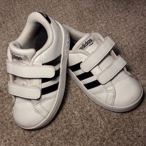 Adidas Toddler Sneakers, Black and White Leather